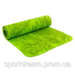 Коврик для фитнеса и йоги TPE зеленый  6мм FI-4837-G