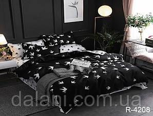 Семейный чёрный комплект постельного белья из ранфорса