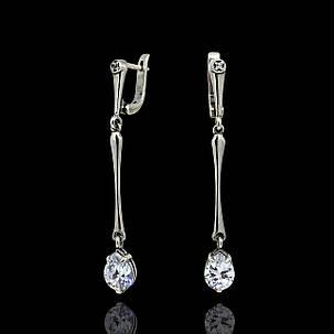 Серебряные серьги-подвески с камнями, фото 2