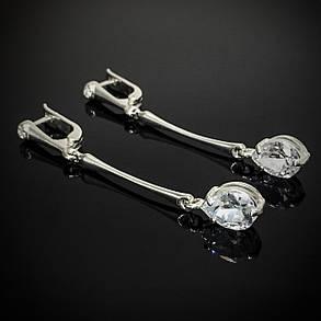 Срібні сережки-підвіски з камінням, фото 2