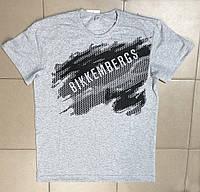 """Стильная мужская повседневная летняя футболка больших размеров """"Bikkembergs"""" XXL,3XL,4XL Цвет белый серый"""