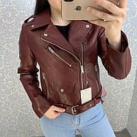 Женская куртка косуха из кожзама бордовая, фото 1