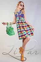 Женское платье в клетку с карманами Lipar Разноцветное
