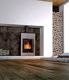 Опалювальна піч-камін тривалого горіння AQUAFLAM VARIO SAPORO (водяний контур, сірий), фото 6