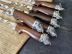 """Красиві шампури """"Племінний бик"""" з шоколадного граба, в буковому кейсі. Подарунок чоловікові, хто народився в рік бика, фото 3"""