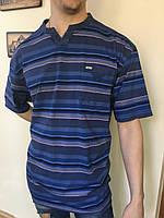 Мужская футболка тенниска Катон хлопок хб батал большого размера синяя