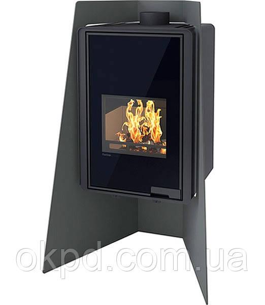Опалювальна піч-камін тривалого горіння FLAMINGO DELUXE ISLAND (чорний)