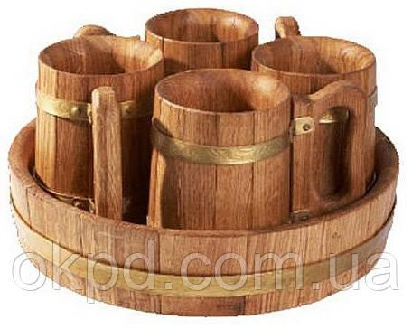 Пивной дубовый набор на 4 персоны для бани и сауны