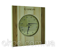 Термогигрометр Greus сосна/кедр 16х14,5 для бани и сауны