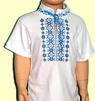 Вышиванка с коротким рукавом на мальчика 1,5-2,5 года, рост 90-98 см