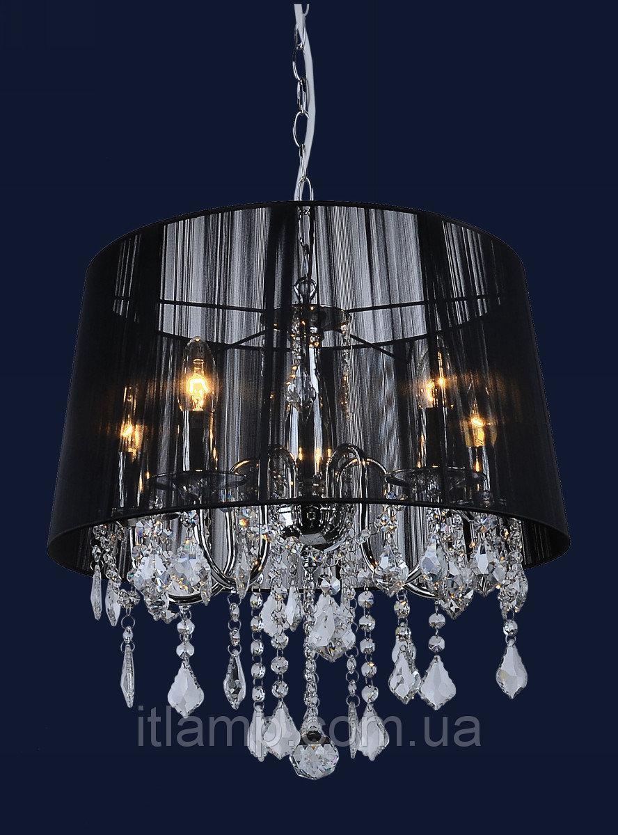 Абажурная люстра с хрусталем в классическом стиле Levistella 7205005WH-5 WH BLACK