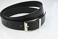 Мужской брючный кожаный ремень прошивной черного цвета размер xxl 125 см, фото 7