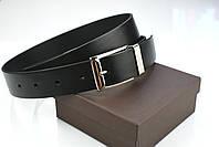 Мужской брючный кожаный ремень прошивной черного цвета размер xxl 125 см, фото 8