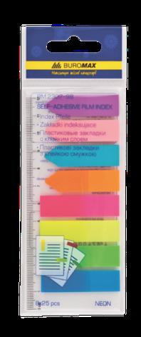 Закладки пластиковые NEON, с клейким слоем, 45x12 мм, 42x12 мм, 8 цв. по 25 л., фото 2