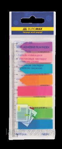 Закладки пластиковые NEON, с клейким слоем, 45x12 мм, 42x12 мм, 8 цв. по 25 л.