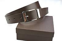Мужской брючный кожаный ремень коричневого цвета размер l, фото 6