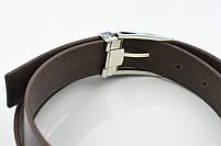 Мужской брючный кожаный ремень коричневого цвета размер xl, фото 3
