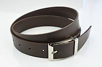 Мужской брючный кожаный ремень коричневого цвета размер xl, фото 4
