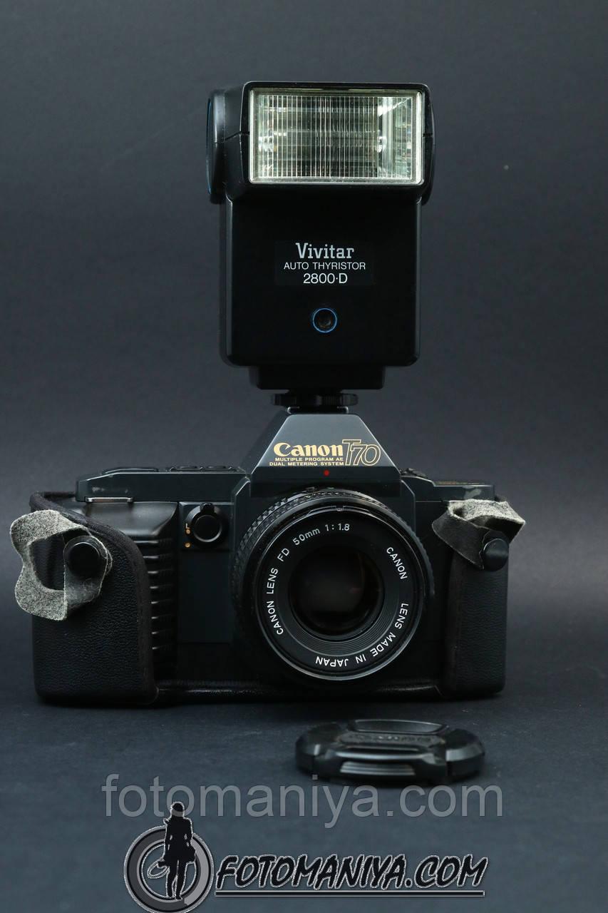 Canon T70  kit Canon nFD 50mm f1.8 + Vivitar flash
