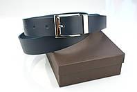 Мужской брючный кожаный ремень синего цвета размер s, фото 6