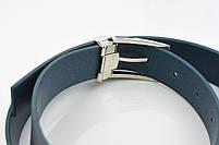 Мужской брючный кожаный ремень синего цвета размер s, фото 5