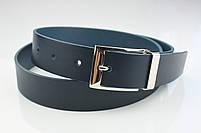 Мужской брючный кожаный ремень синего цвета размер s, фото 7