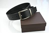 Мужской джинсовый кожаный ремень черного цвета размер l 115 см, фото 6