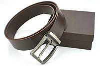 Мужской джинсовый кожаный ремень коричневого цвета размер m 110 см, фото 5
