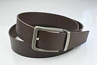 Мужской джинсовый кожаный ремень коричневого цвета размер s 105 см, фото 8