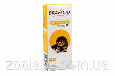 Bravecto. Жевательная таблетка для собак от блох и клещей (1 шт; вес собаки 2-4,5 кг)