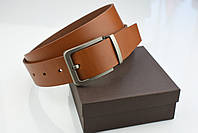 Мужской джинсовый кожаный ремень коньячного цвета размер l 115 см, фото 6
