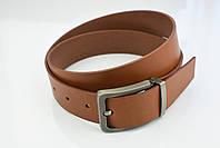 Мужской джинсовый кожаный ремень коньячного цвета размер l 115 см, фото 7