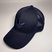 Бейсболка унисекс Adidas реплика Темно-синяя с сеткой