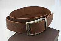 Мужской джинсовый кожаный ремень коричневого цвета размер xl 120 см, фото 5