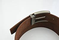 Мужской джинсовый кожаный ремень коричневого цвета размер xl 120 см, фото 6