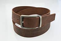 Мужской джинсовый кожаный ремень коричневого цвета размер xl 120 см, фото 7