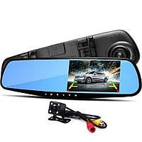 Видеорегистратор-зеркало заднего вида Vehicle Blackbox DVR L 9000, регистратор-зеркало с двумя камер, фото 1
