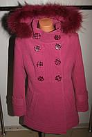 Зимнее кашемировое пальто на девочку розовое 38 р
