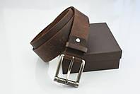 Мужской джинсовый кожаный ремень коричневого цвета размер s 105 см, фото 3