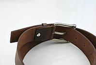 Мужской джинсовый кожаный ремень коричневого цвета размер s 105 см, фото 4