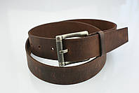 Мужской джинсовый кожаный ремень коричневого цвета размер m 110 см, фото 6