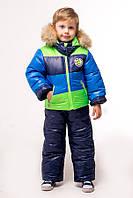 """Верхняя одежда, детская зимняя, комбинезон/комплект для мальчика с отстегивающимся капюшоном """"Микс"""""""