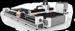 Волоконный лазер Gweike LF3015GCR (модель High класса с функцией резки трубы и сменным столом)