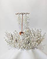 Свадебный комплект украшений, диадема и серьги-гроздья c жемчугом