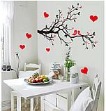Інтер'єрна наліпка на стіну Пташки на гілці / Интерьерная декоративная наклейка на стену Птицы на ветке AY7179, фото 2