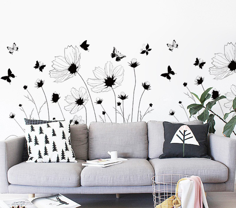 Інтер'єрна декоративна наліпка на стіну Польові Квіти / Интерьерная наклейка на стену Полевые Цветы, AM9201