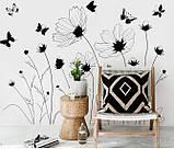 Інтер'єрна декоративна наліпка на стіну Польові Квіти / Интерьерная наклейка на стену Полевые Цветы, AM9201, фото 3