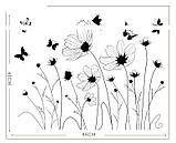 Інтер'єрна декоративна наліпка на стіну Польові Квіти / Интерьерная наклейка на стену Полевые Цветы, AM9201, фото 4