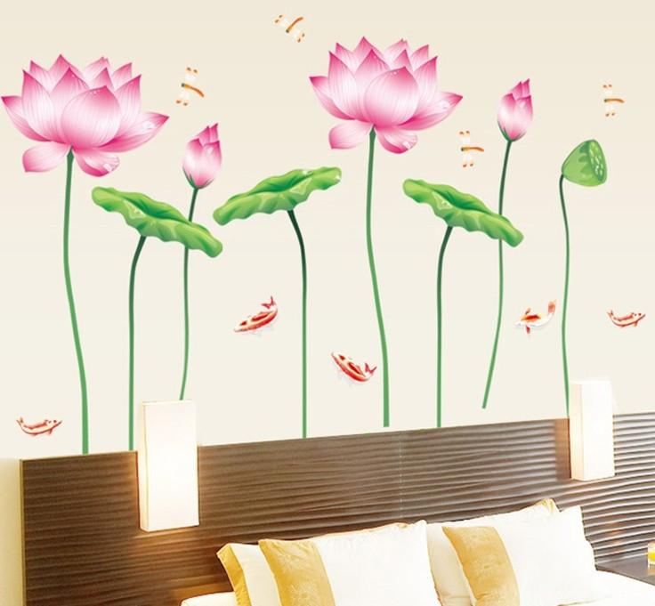 Інтер'єрна наліпка на стіну Лотоси / Интерьерная наклейка на стену Лотосы AY997