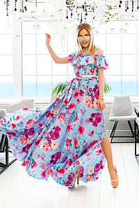 Женский летний сарафан с рюшами и цветочным принтом